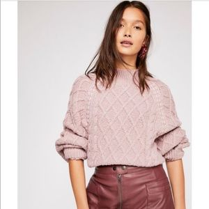 Free People Parfait Pullover sweater in pink NWT